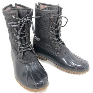 <SOLD> Madden Girl Frolic Gray Quilted Duck Boots